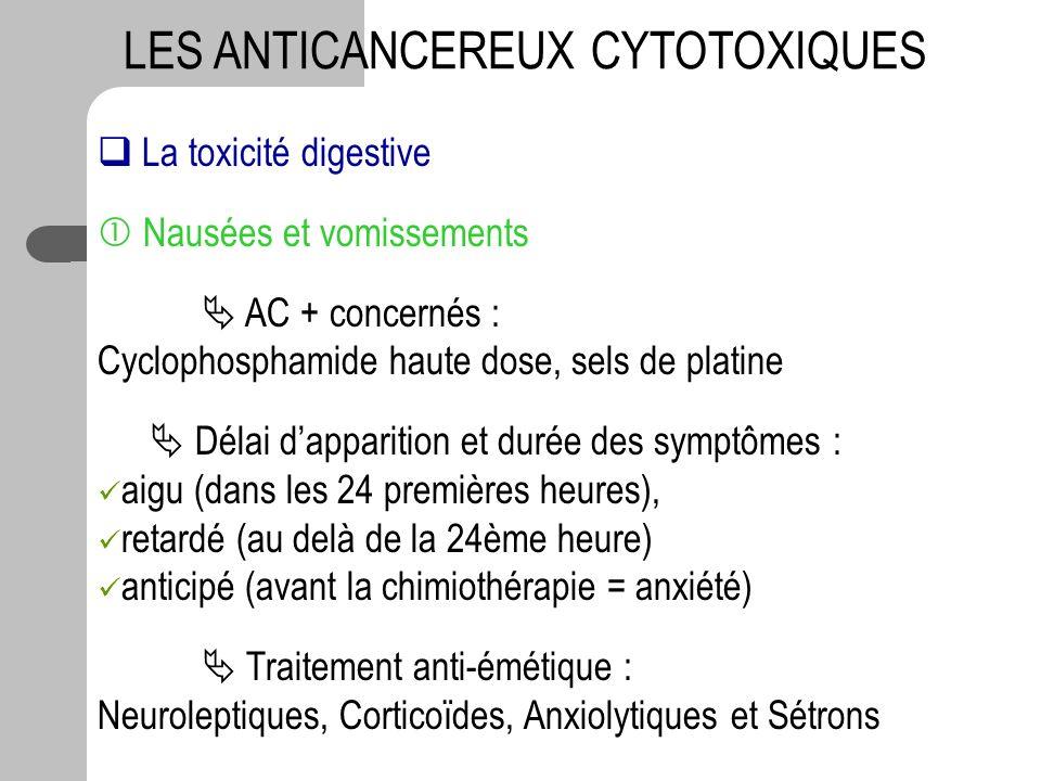 LES ANTICANCEREUX CYTOTOXIQUES La toxicité digestive Nausées et vomissements AC + concernés : Cyclophosphamide haute dose, sels de platine Délai dappa