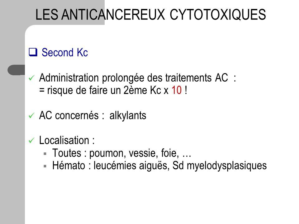 Second Kc Administration prolongée des traitements AC : = risque de faire un 2ème Kc x 10 ! AC concernés : alkylants Localisation : Toutes : poumon, v