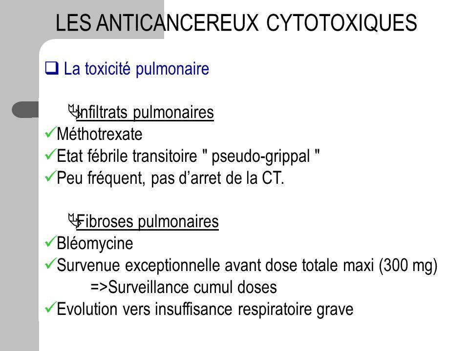 La toxicité pulmonaire Infiltrats pulmonaires Méthotrexate Etat fébrile transitoire