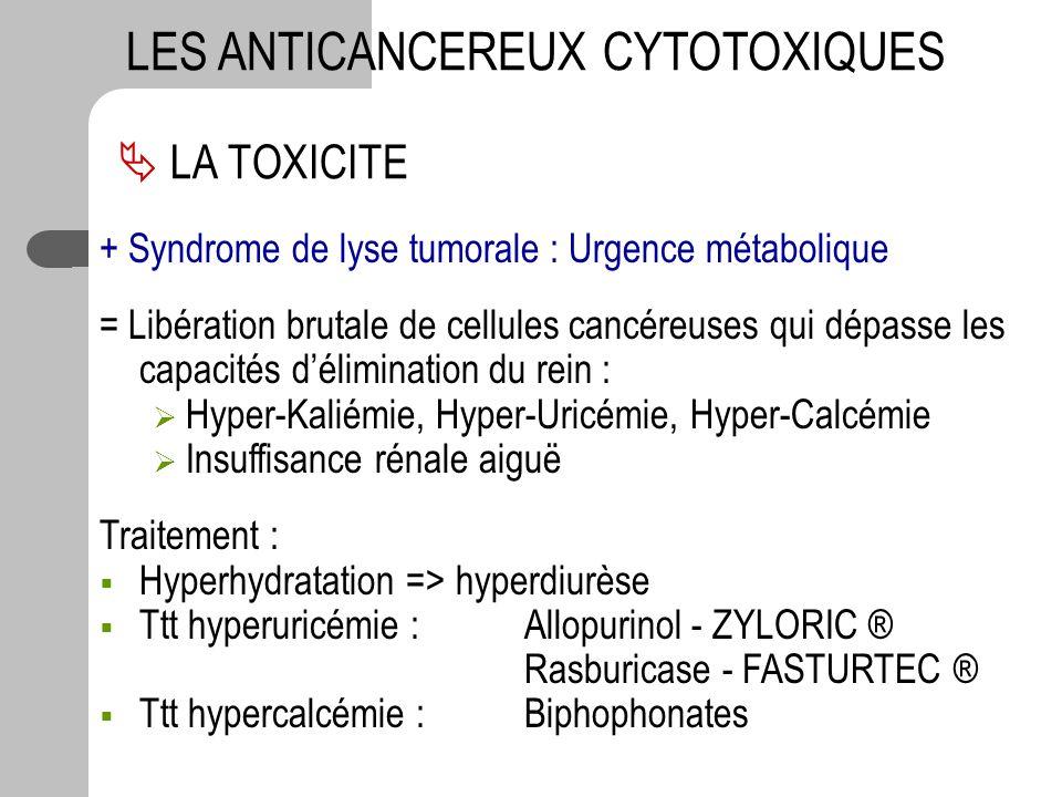 LA TOXICITE LES ANTICANCEREUX CYTOTOXIQUES + Syndrome de lyse tumorale : Urgence métabolique = Libération brutale de cellules cancéreuses qui dépasse