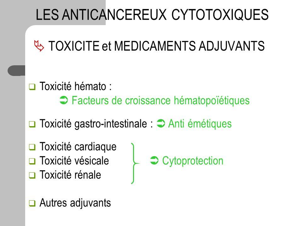 TOXICITE et MEDICAMENTS ADJUVANTS LES ANTICANCEREUX CYTOTOXIQUES Toxicité hémato : Facteurs de croissance hématopoïétiques Toxicité gastro-intestinale
