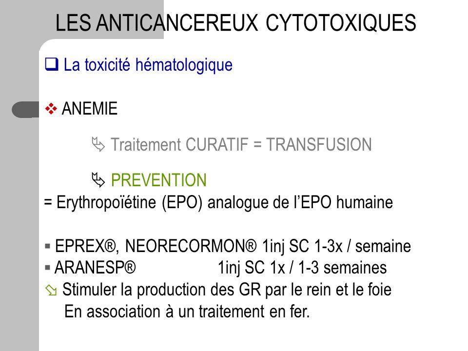 La toxicité hématologique ANEMIE Traitement CURATIF = TRANSFUSION PREVENTION = Erythropoïétine (EPO) analogue de lEPO humaine EPREX®, NEORECORMON® 1in