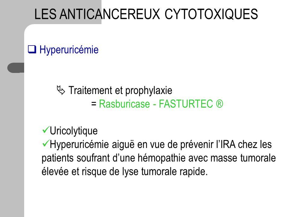 LES ANTICANCEREUX CYTOTOXIQUES Hyperuricémie Traitement et prophylaxie = Rasburicase - FASTURTEC ® Uricolytique Hyperuricémie aiguë en vue de prévenir