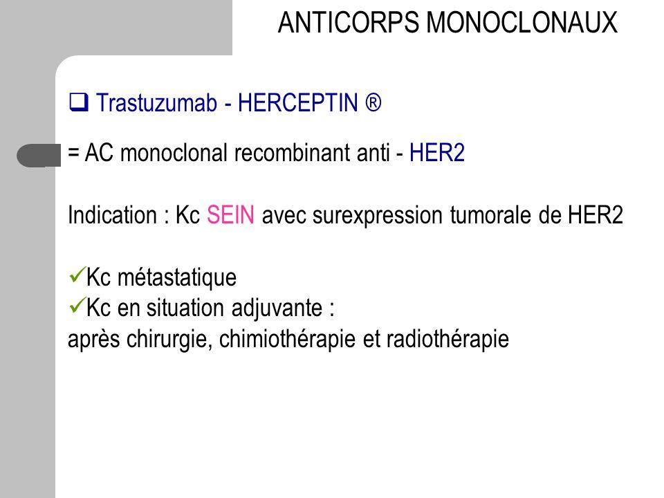Trastuzumab - HERCEPTIN ® = AC monoclonal recombinant anti - HER2 Indication : Kc SEIN avec surexpression tumorale de HER2 Kc métastatique Kc en situa