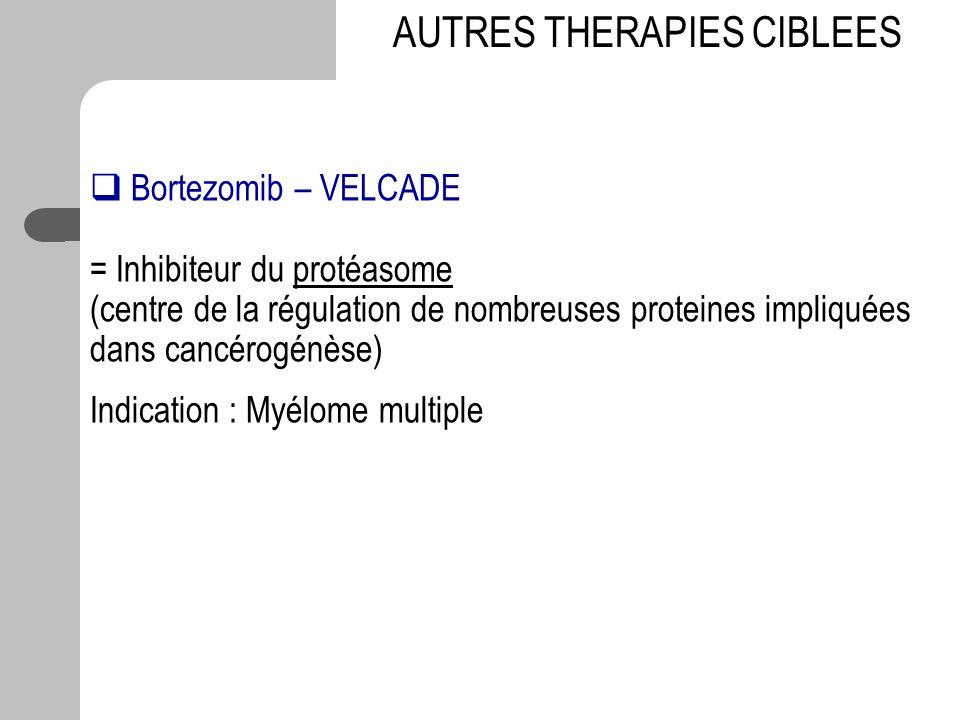 Bortezomib – VELCADE = Inhibiteur du protéasome (centre de la régulation de nombreuses proteines impliquées dans cancérogénèse) Indication : Myélome m