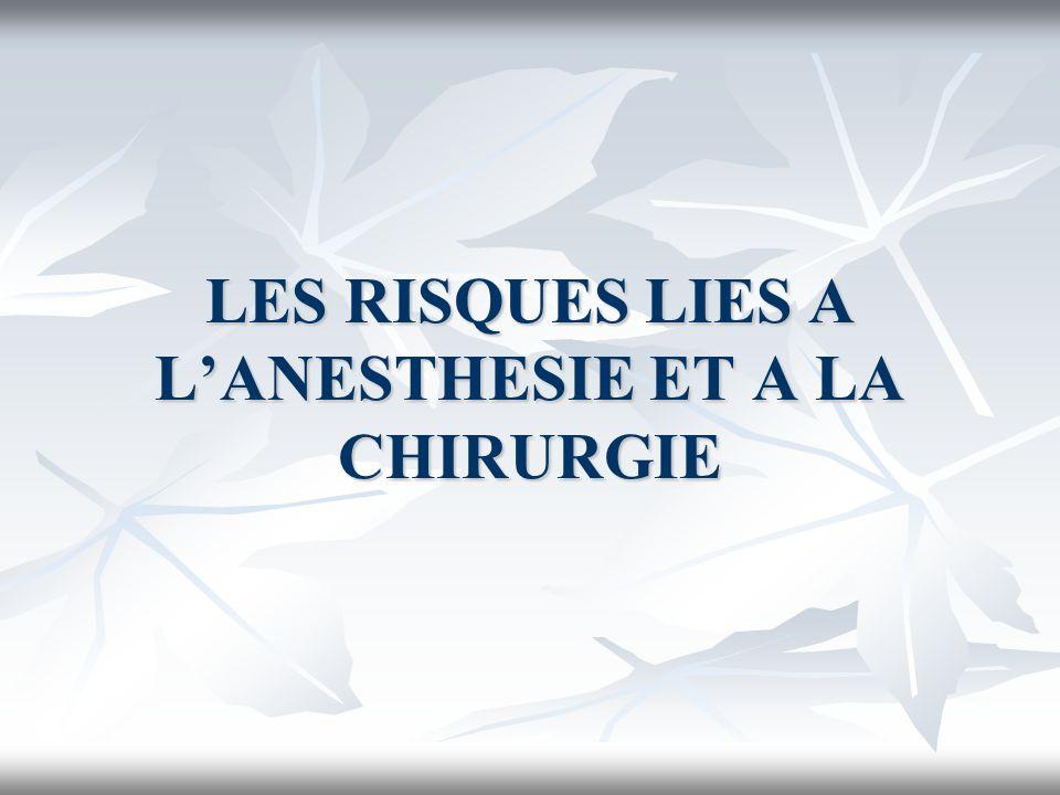 LES RISQUES LIES A LANESTHESIE ET A LA CHIRURGIE