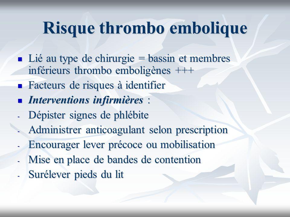 Risque thrombo embolique Lié au type de chirurgie = bassin et membres inférieurs thrombo emboligènes +++ Lié au type de chirurgie = bassin et membres