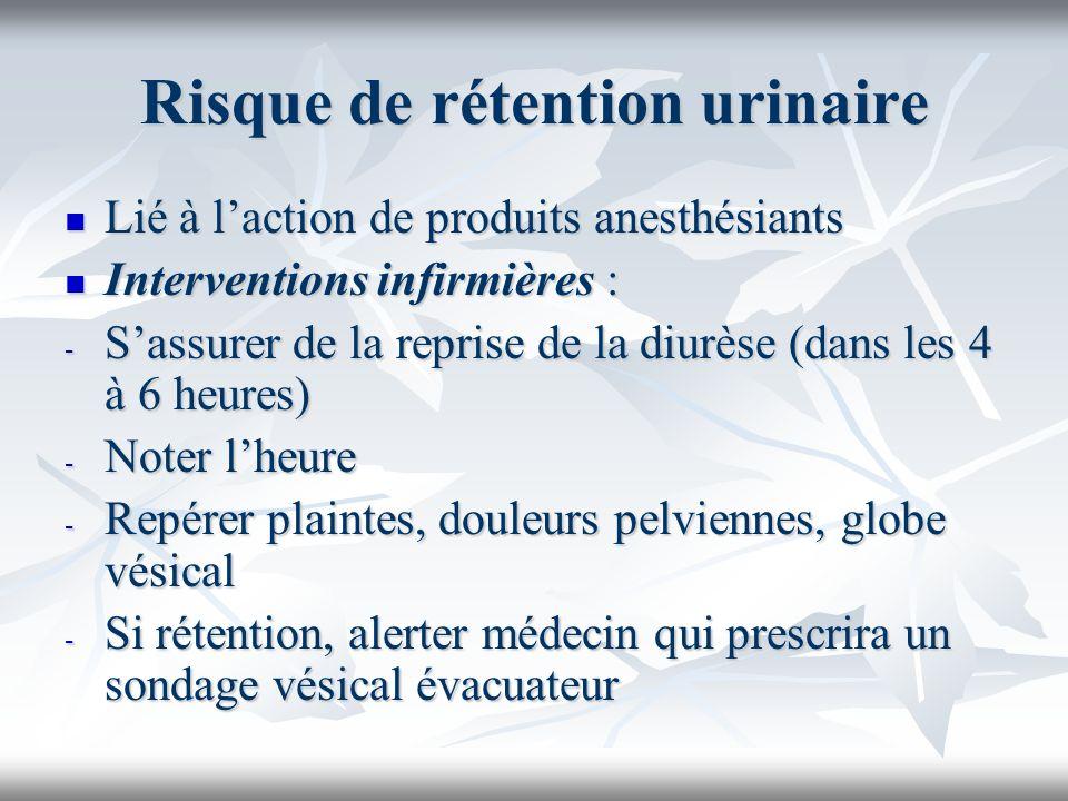 Risque de rétention urinaire Lié à laction de produits anesthésiants Lié à laction de produits anesthésiants Interventions infirmières : Interventions