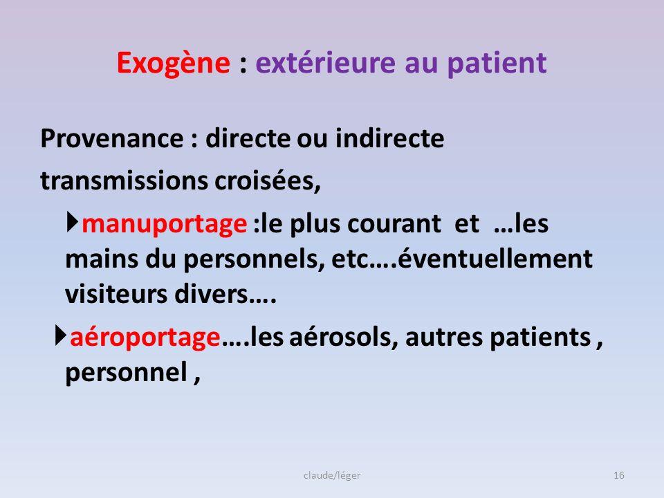 Endogène :provient du patient lui même Traitement antibiotique – Flore change….sélection de micro- organisme sensible aux antibiotiques ou - BMR =bact