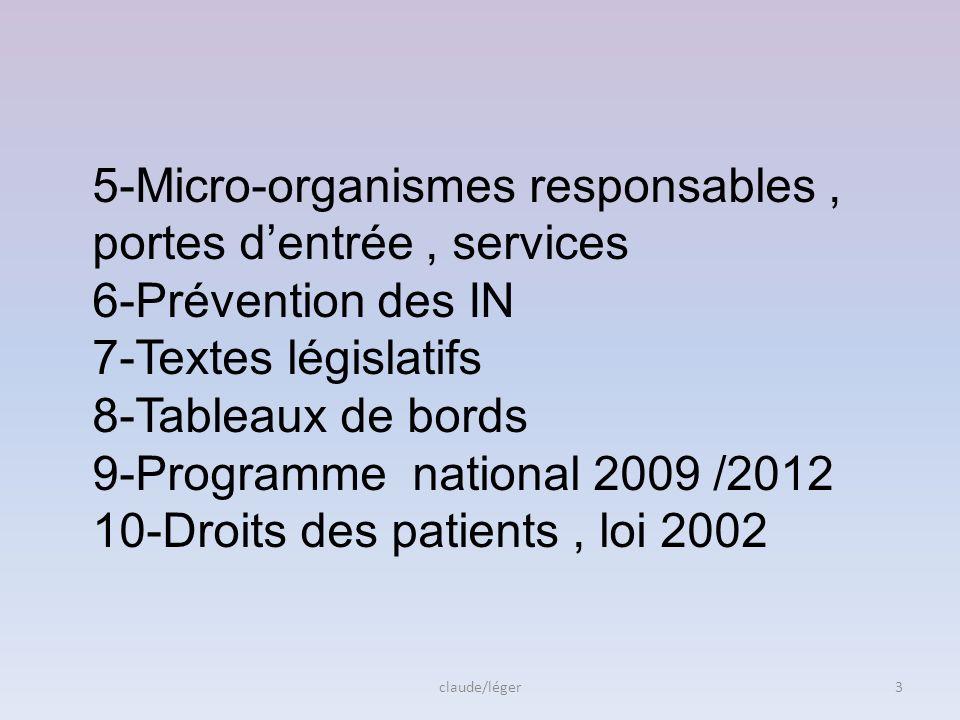 5-Micro-organismes responsables, portes dentrée, services 6-Prévention des IN 7-Textes législatifs 8-Tableaux de bords 9-Programme national 2009 /2012 10-Droits des patients, loi 2002 3