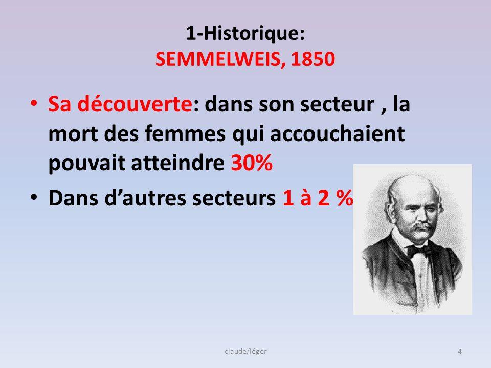 1-Historique: SEMMELWEIS, 1850 Sa découverte: dans son secteur, la mort des femmes qui accouchaient pouvait atteindre 30% Dans dautres secteurs 1 à 2 %????, claude/léger4
