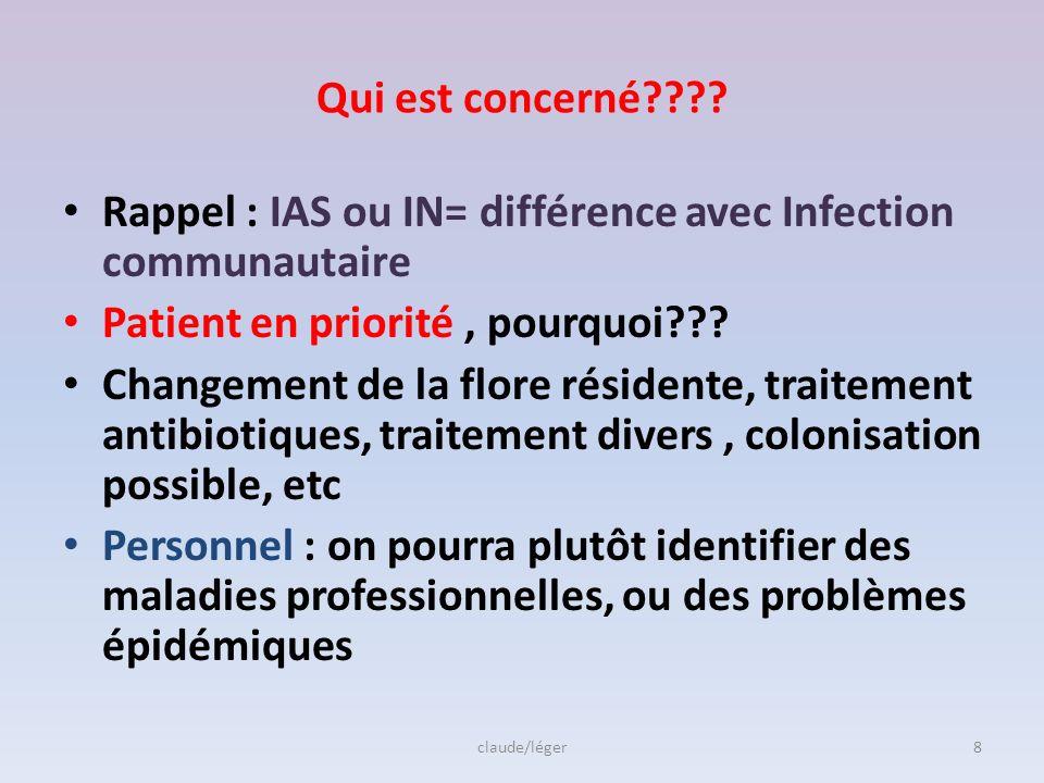 2-Définitions Nosocomial: nosos = maladie Komein= soigner Cest une infection absente, pas en incubation, à la prise en charge du patient, puis acquise