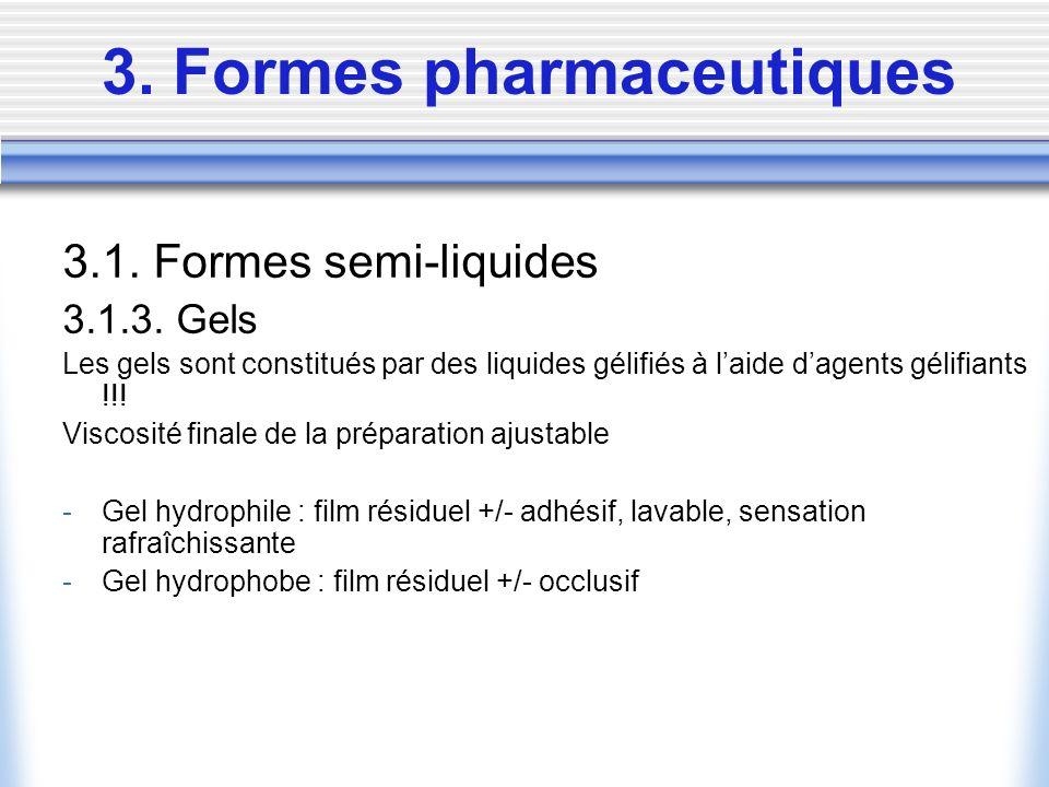 3. Formes pharmaceutiques 3.1. Formes semi-liquides 3.1.3. Gels Les gels sont constitués par des liquides gélifiés à laide dagents gélifiants !!! Visc