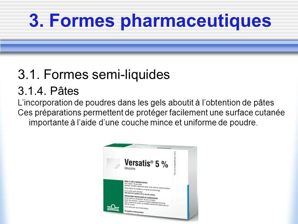 3. Formes pharmaceutiques 3.1. Formes semi-liquides 3.1.4. Pâtes Lincorporation de poudres dans les gels aboutit à lobtention de pâtes Ces préparation