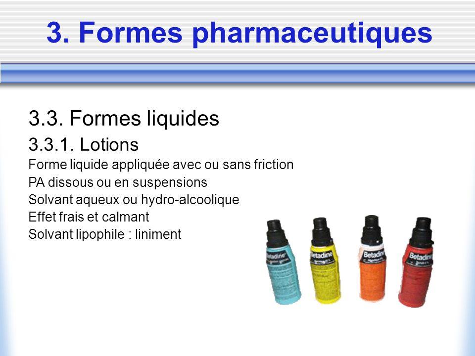 3. Formes pharmaceutiques 3.3. Formes liquides 3.3.1. Lotions Forme liquide appliquée avec ou sans friction PA dissous ou en suspensions Solvant aqueu