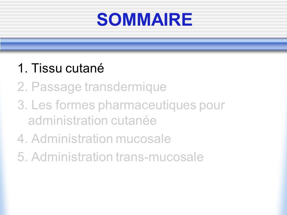SOMMAIRE 1. Tissu cutané 2. Passage transdermique 3. Les formes pharmaceutiques pour administration cutanée 4. Administration mucosale 5. Administrati