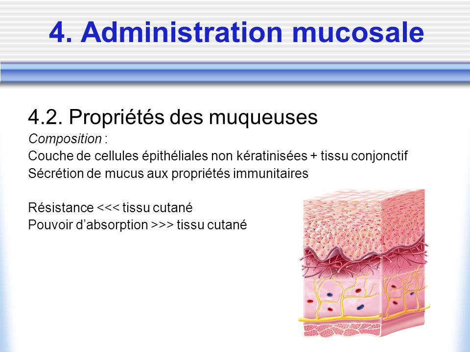 4. Administration mucosale 4.2. Propriétés des muqueuses Composition : Couche de cellules épithéliales non kératinisées + tissu conjonctif Sécrétion d