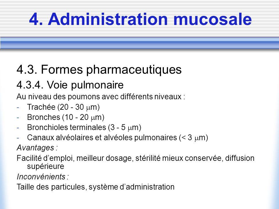 4. Administration mucosale 4.3. Formes pharmaceutiques 4.3.4. Voie pulmonaire Au niveau des poumons avec différents niveaux : -Trachée (20 - 30 m) -Br