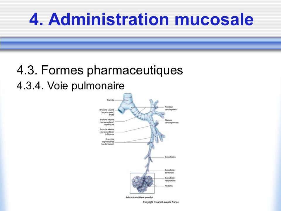 4. Administration mucosale 4.3. Formes pharmaceutiques 4.3.4. Voie pulmonaire