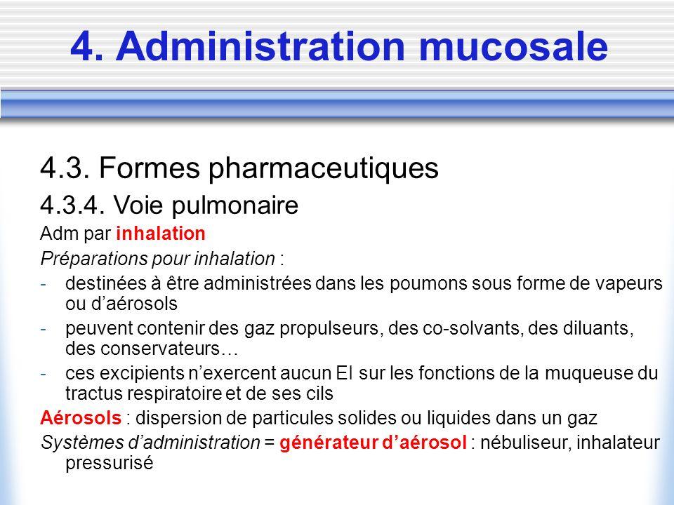 4. Administration mucosale 4.3. Formes pharmaceutiques 4.3.4. Voie pulmonaire Adm par inhalation Préparations pour inhalation : -destinées à être admi