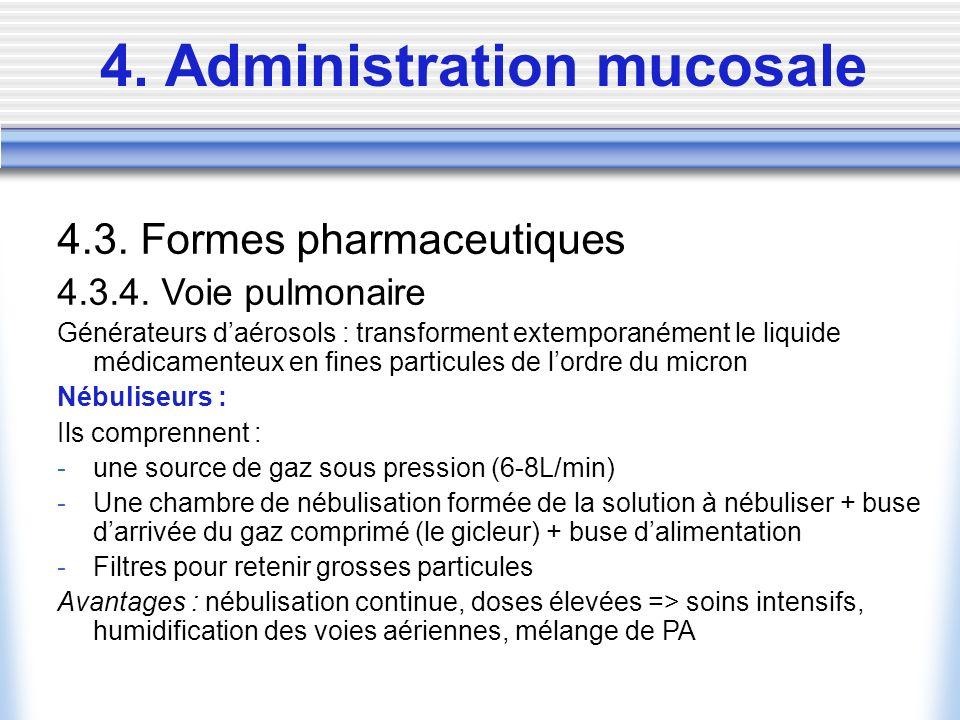 4. Administration mucosale 4.3. Formes pharmaceutiques 4.3.4. Voie pulmonaire Générateurs daérosols : transforment extemporanément le liquide médicame