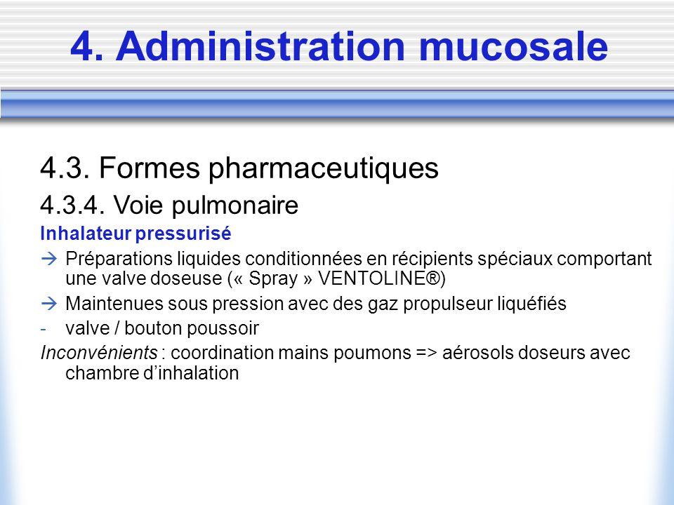 4. Administration mucosale 4.3. Formes pharmaceutiques 4.3.4. Voie pulmonaire Inhalateur pressurisé Préparations liquides conditionnées en récipients