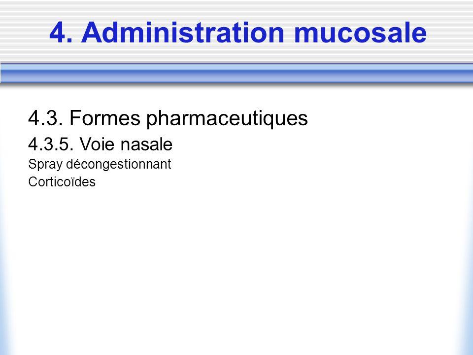 4. Administration mucosale 4.3. Formes pharmaceutiques 4.3.5. Voie nasale Spray décongestionnant Corticoïdes