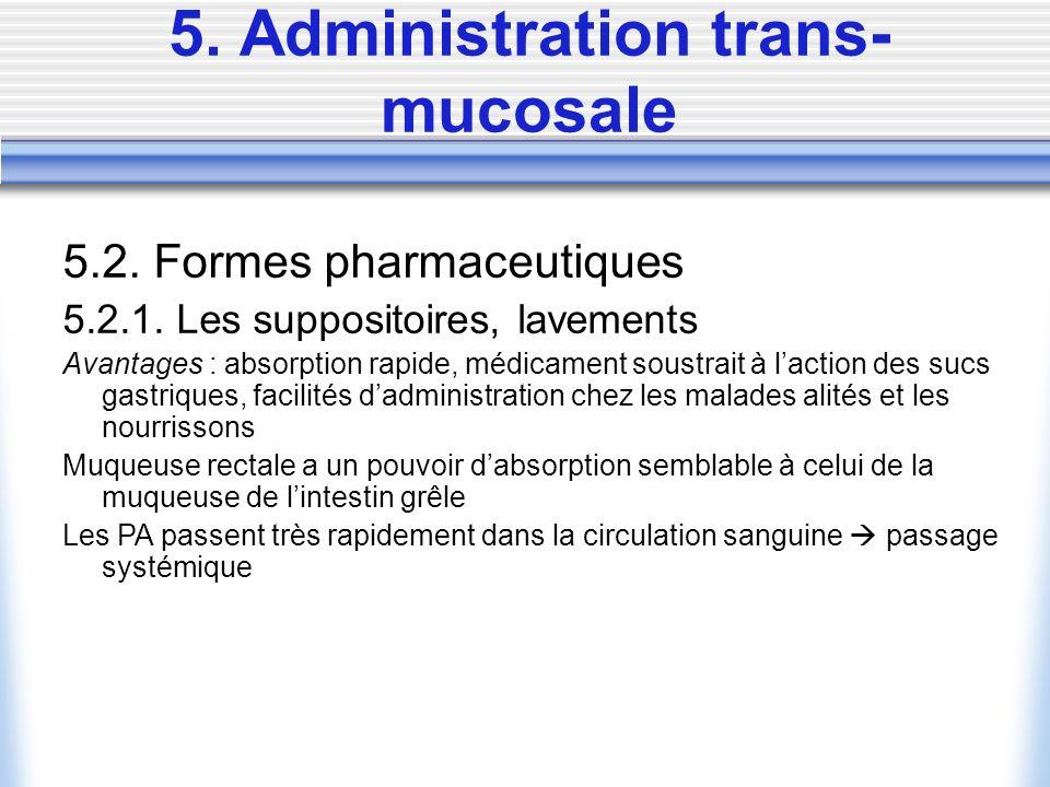 5. Administration trans- mucosale 5.2. Formes pharmaceutiques 5.2.1. Les suppositoires, lavements Avantages : absorption rapide, médicament soustrait