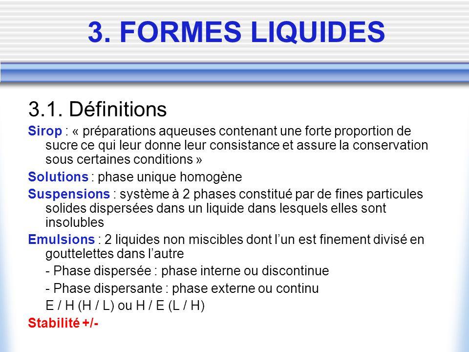 3. FORMES LIQUIDES 3.1.