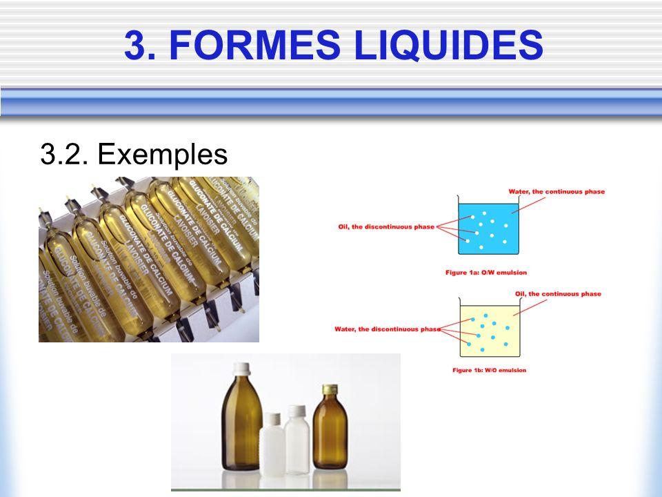 3. FORMES LIQUIDES 3.2. Exemples