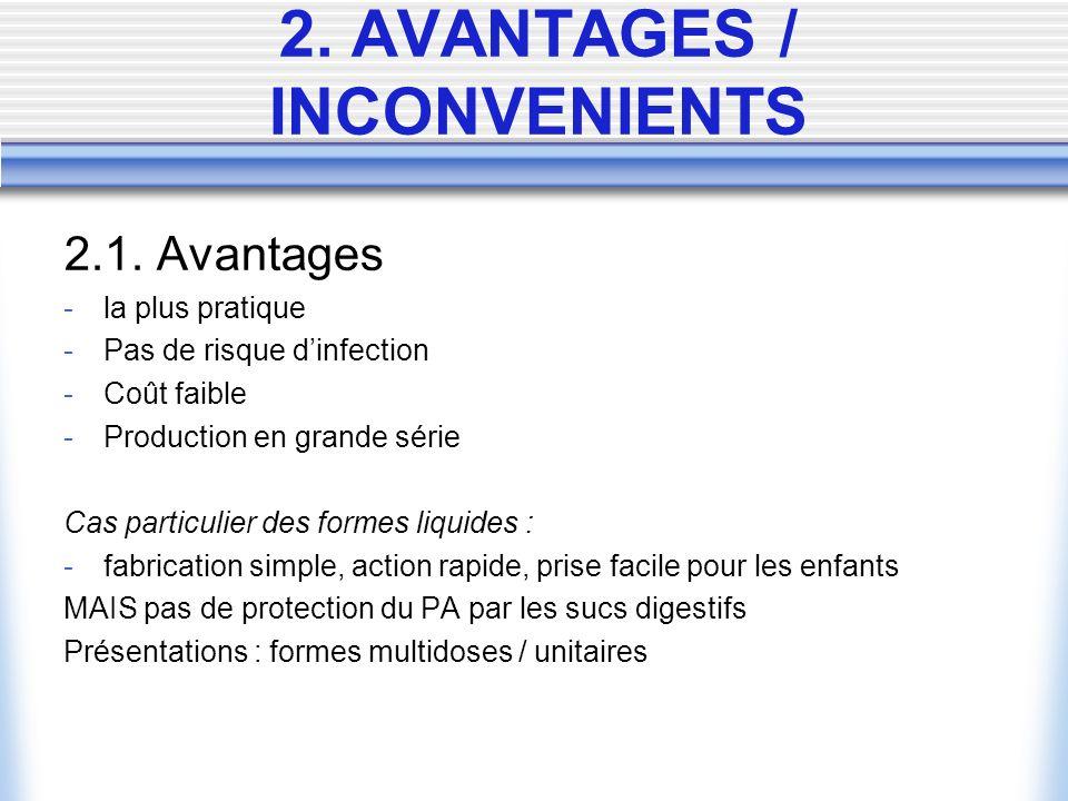 2. AVANTAGES / INCONVENIENTS 2.1.