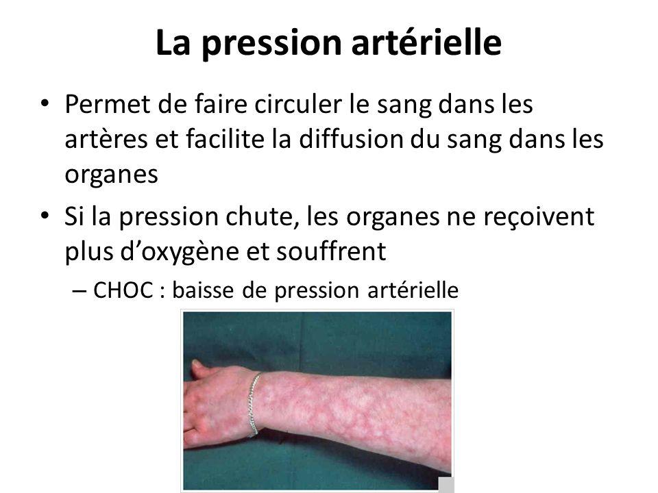 La pression artérielle Permet de faire circuler le sang dans les artères et facilite la diffusion du sang dans les organes Si la pression chute, les o