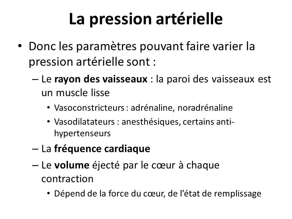 La pression artérielle Donc les paramètres pouvant faire varier la pression artérielle sont : – Le rayon des vaisseaux : la paroi des vaisseaux est un