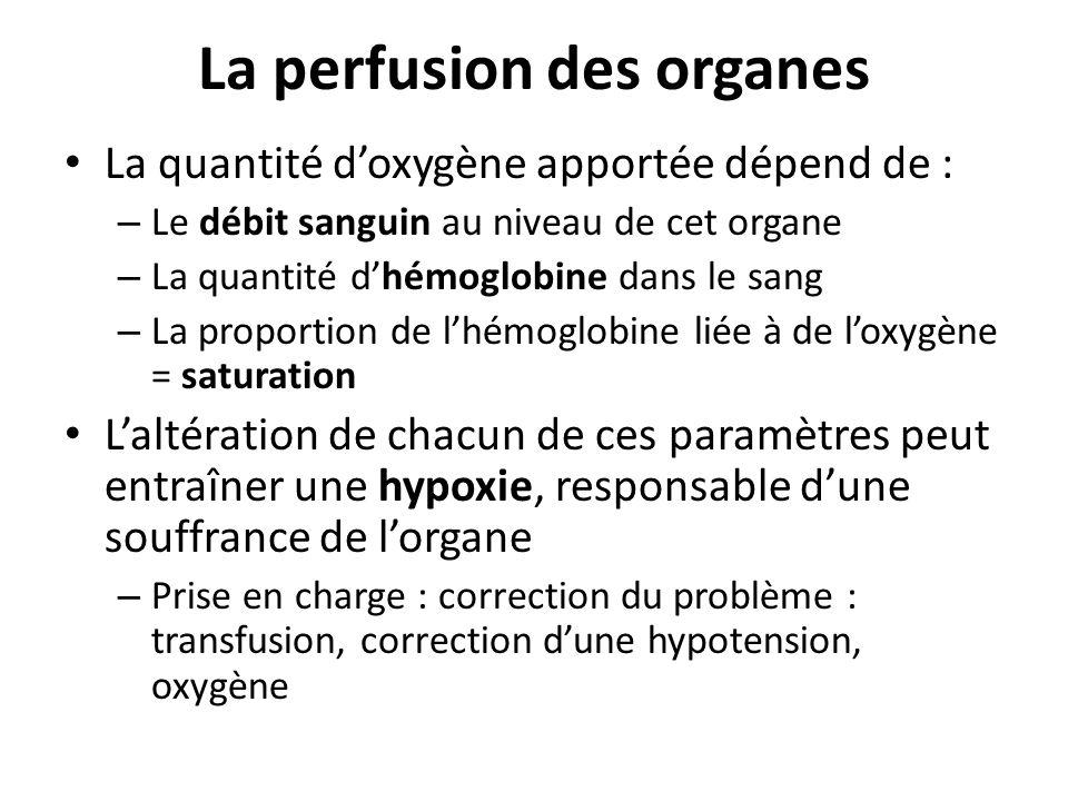 La perfusion des organes La quantité doxygène apportée dépend de : – Le débit sanguin au niveau de cet organe – La quantité dhémoglobine dans le sang