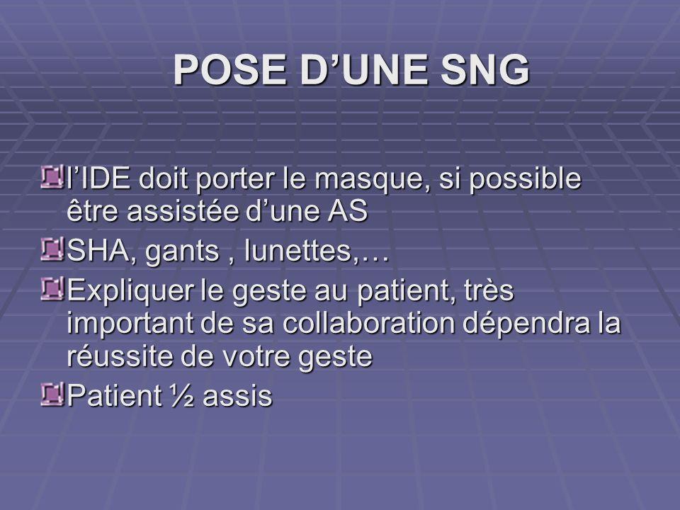 POSE DUNE SNG lIDE doit porter le masque, si possible être assistée dune AS SHA, gants, lunettes,… Expliquer le geste au patient, très important de sa