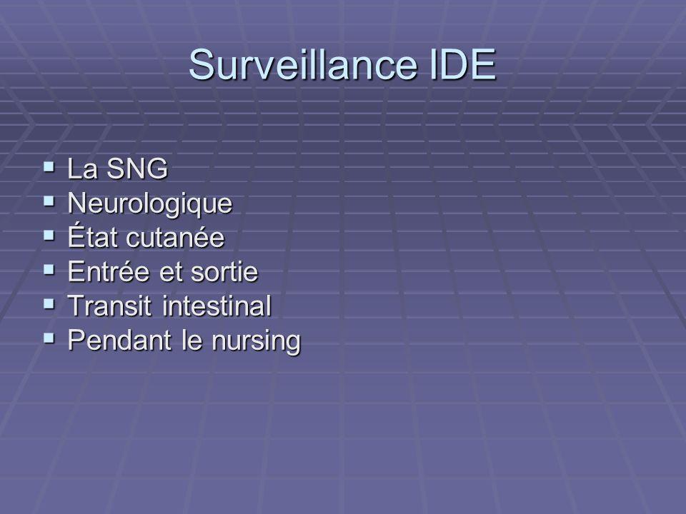 Surveillance IDE La SNG La SNG Neurologique Neurologique État cutanée État cutanée Entrée et sortie Entrée et sortie Transit intestinal Transit intest