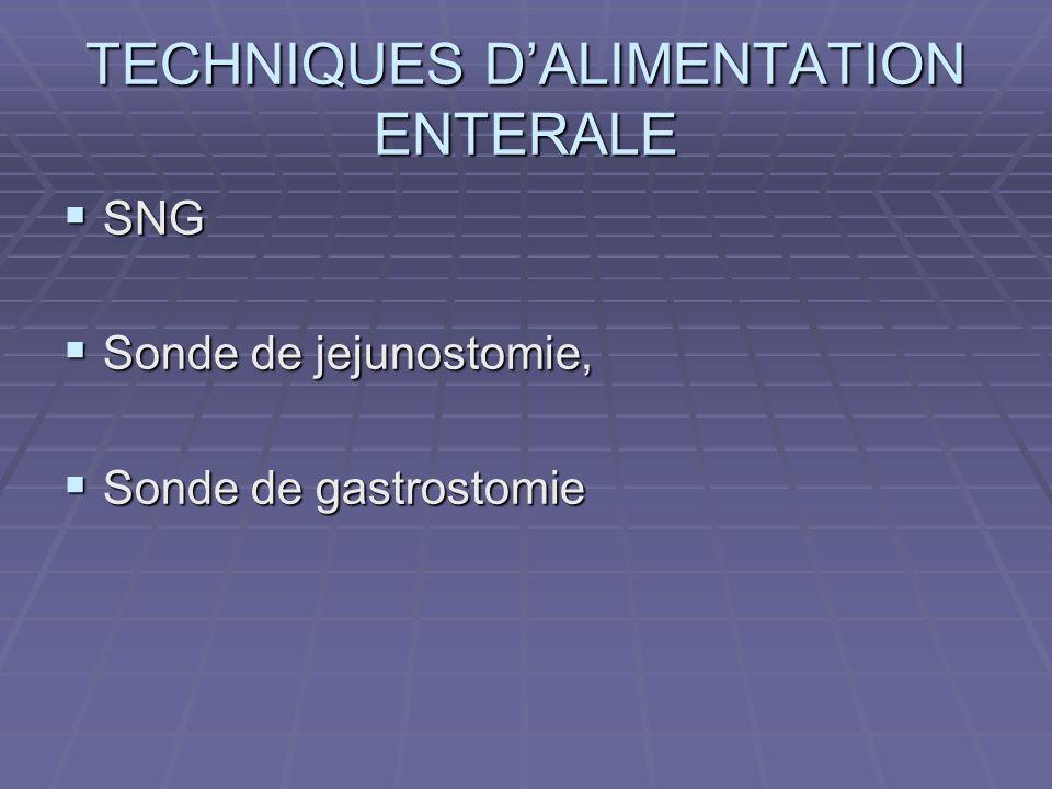 TECHNIQUES DALIMENTATION ENTERALE SNG SNG Sonde de jejunostomie, Sonde de jejunostomie, Sonde de gastrostomie Sonde de gastrostomie
