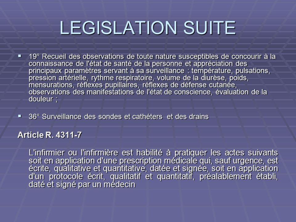 LEGISLATION SUITE 19° Recueil des observations de toute nature susceptibles de concourir à la connaissance de l'état de santé de la personne et appréc