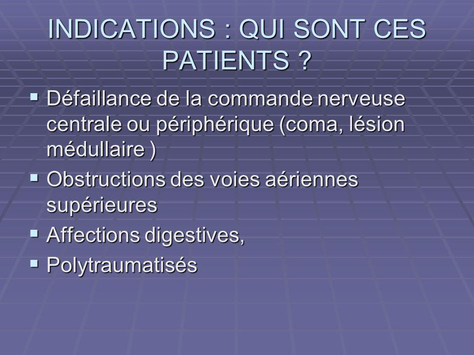 INDICATIONS : QUI SONT CES PATIENTS ? Défaillance de la commande nerveuse centrale ou périphérique (coma, lésion médullaire ) Défaillance de la comman
