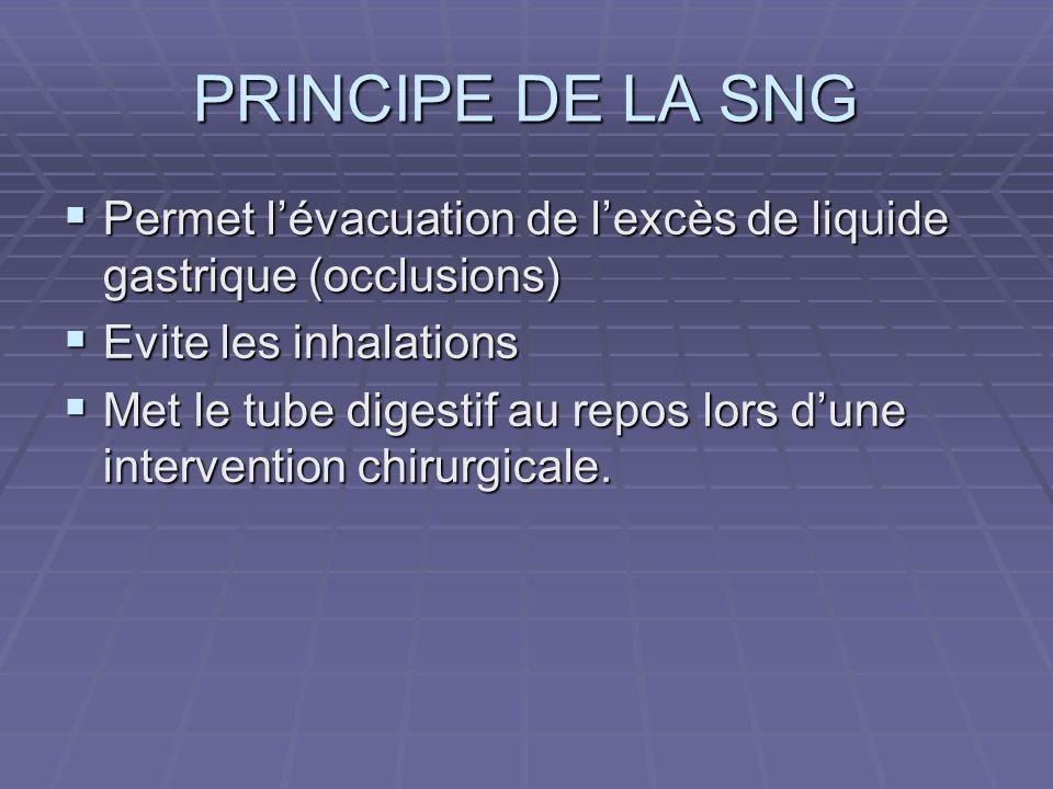 PRINCIPE DE LA SNG Permet lévacuation de lexcès de liquide gastrique (occlusions) Permet lévacuation de lexcès de liquide gastrique (occlusions) Evite