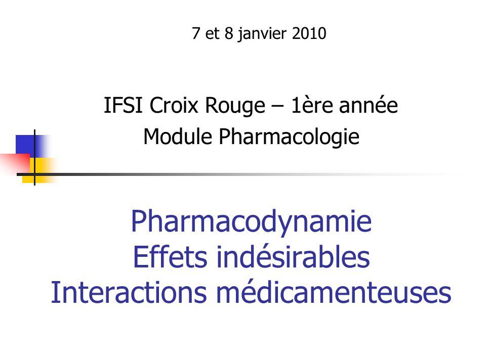Pharmacodynamie Effets indésirables Interactions médicamenteuses 7 et 8 janvier 2010 IFSI Croix Rouge – 1ère année Module Pharmacologie