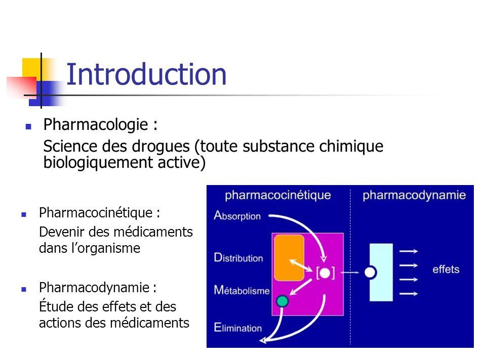 Introduction Pharmacocinétique : Devenir des médicaments dans lorganisme Pharmacodynamie : Étude des effets et des actions des médicaments Pharmacologie : Science des drogues (toute substance chimique biologiquement active)