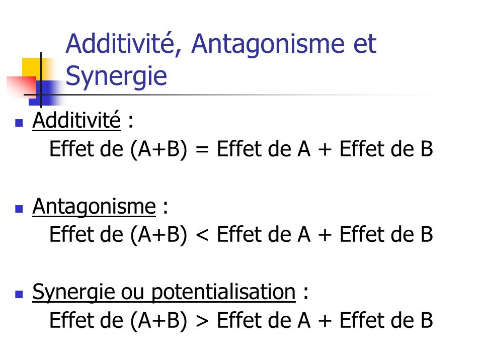 Additivité, Antagonisme et Synergie Additivité : Effet de (A+B) = Effet de A + Effet de B Antagonisme : Effet de (A+B) < Effet de A + Effet de B Syner