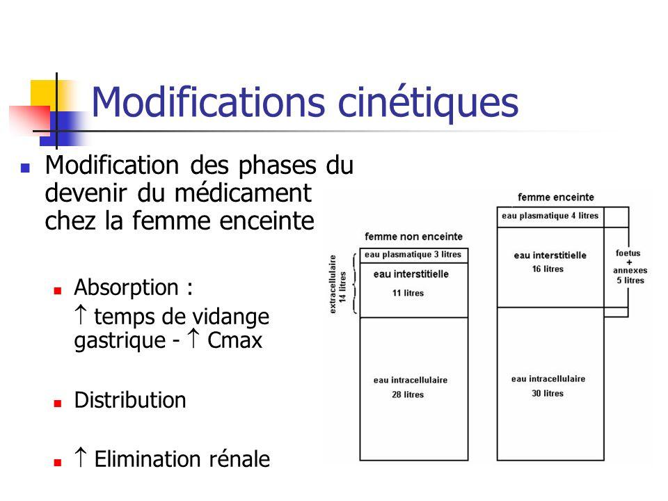 Modifications cinétiques Modification des phases du devenir du médicament chez la femme enceinte Absorption : temps de vidange gastrique - Cmax Distri