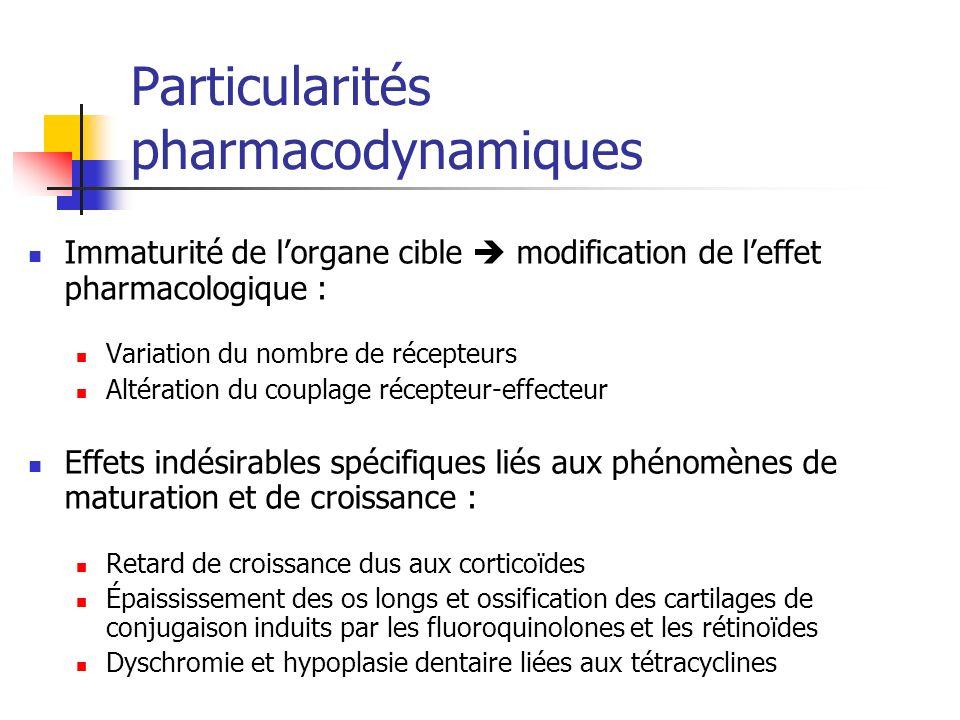 Particularités pharmacodynamiques Immaturité de lorgane cible modification de leffet pharmacologique : Variation du nombre de récepteurs Altération du
