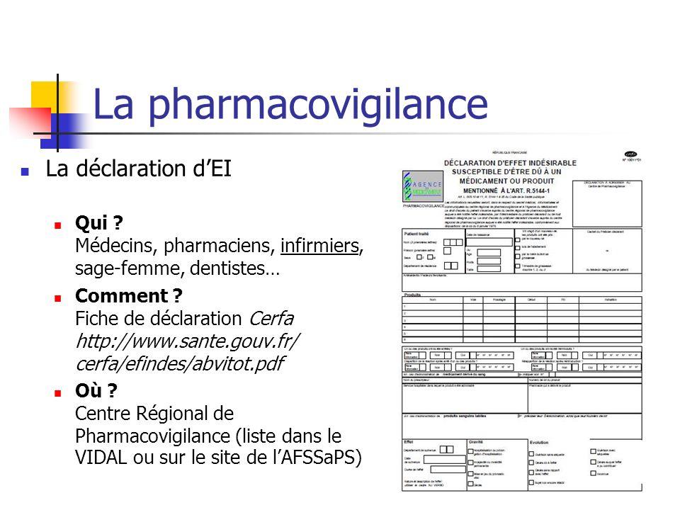 La pharmacovigilance La déclaration dEI Qui ? Médecins, pharmaciens, infirmiers, sage-femme, dentistes… Comment ? Fiche de déclaration Cerfa http://ww