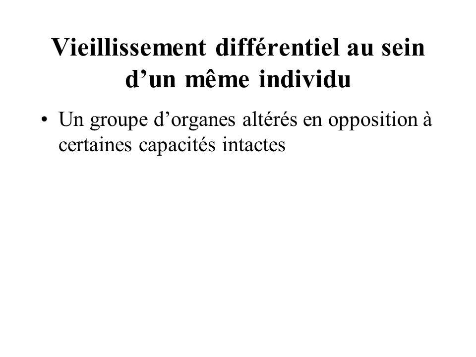 Vieillissement différentiel au sein dun même individu Un groupe dorganes altérés en opposition à certaines capacités intactes