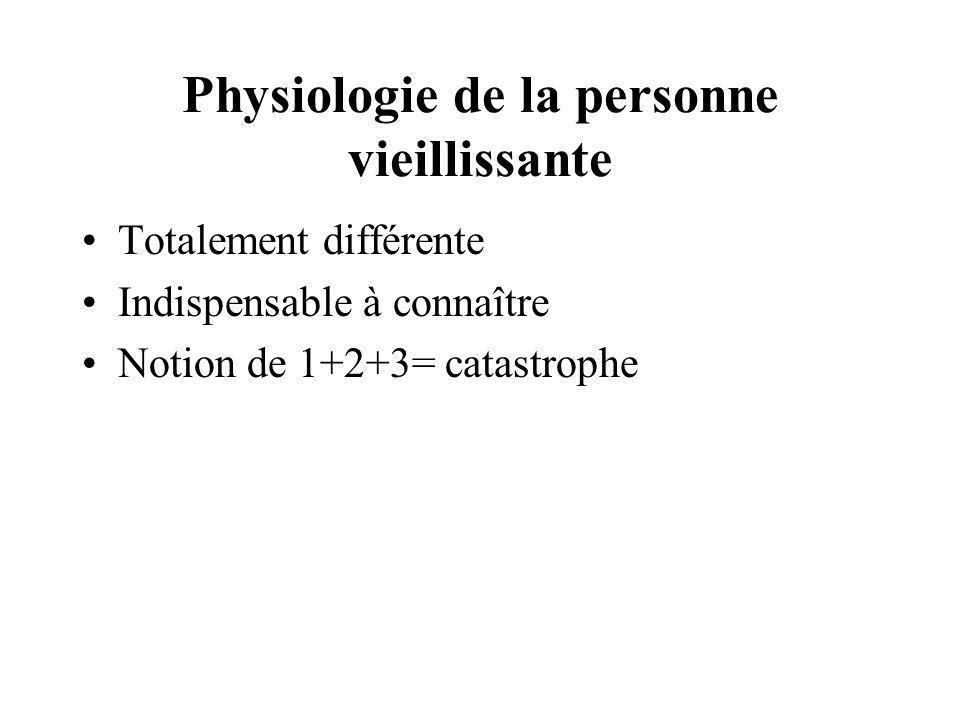 Physiologie de la personne vieillissante Totalement différente Indispensable à connaître Notion de 1+2+3= catastrophe