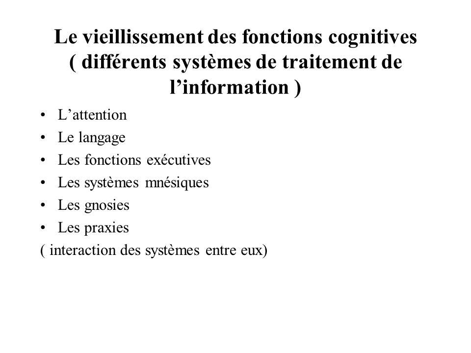 Le vieillissement des fonctions cognitives ( différents systèmes de traitement de linformation ) Lattention Le langage Les fonctions exécutives Les sy