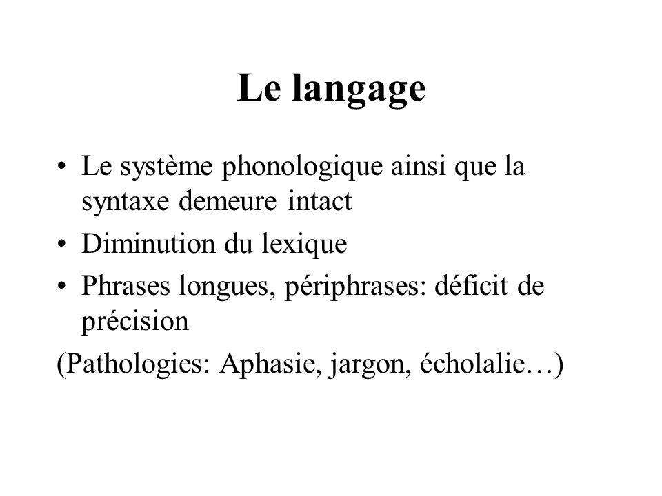 Le langage Le système phonologique ainsi que la syntaxe demeure intact Diminution du lexique Phrases longues, périphrases: déficit de précision (Patho
